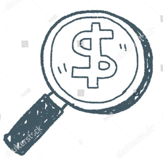 This picture is a sketch of a magnifying glass with a dollar sign drawn in the middle of the lense. It was captured at Shutterstock.com
